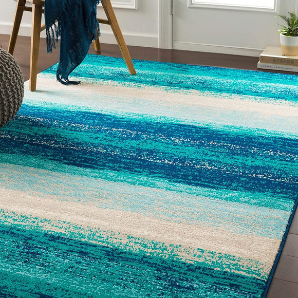 Teal Contemporary Striped Area Rug 5'3