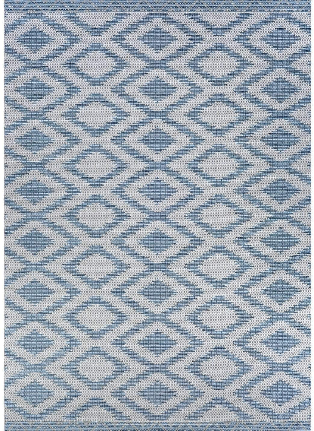 "Blue Indoor/Outdoor Runner Rug 2'3"" X 7'10"" Ivory Geometric Transitional Rectangle Polypropylene Contains Latex"