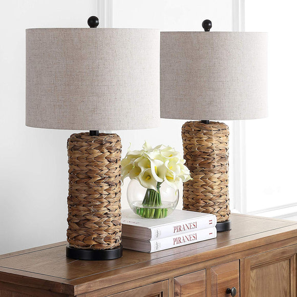 Lighting Bohemian Light Weaved Coastal Decor Woven Table Lamp Set Nautical Rope Rustic Home Office Boho Vintage Chic Modern Sea Grass Woven