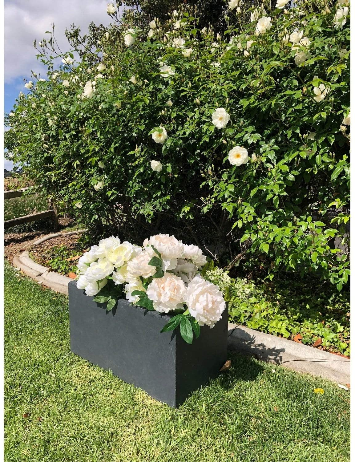 Lightweight Concrete Modern Long Granite Color Low Planter Small 23 2'x11 8'x12' Grey Rectangular