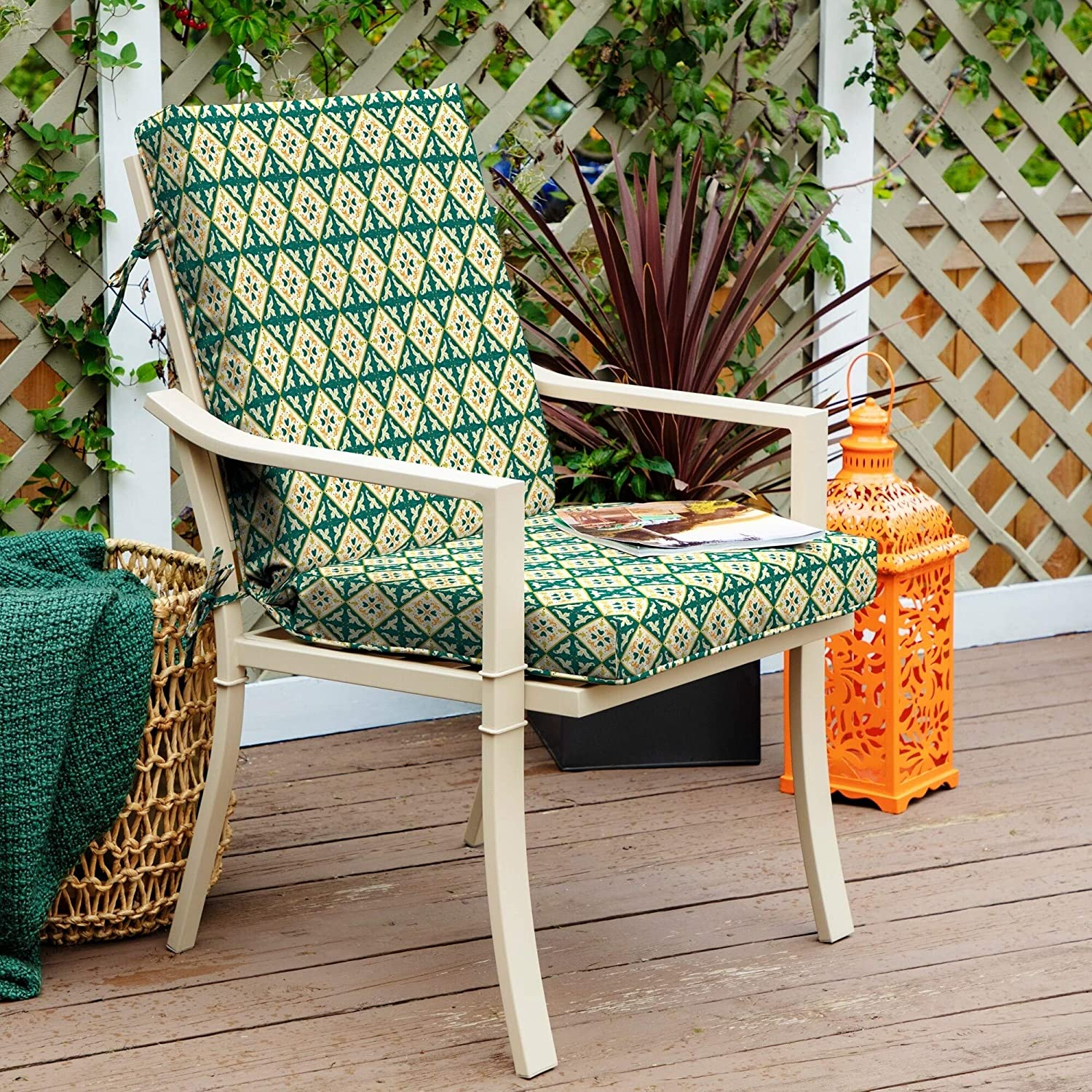 Moroccan Tile High Back Chair Green Geometric Mediterranean Polyester