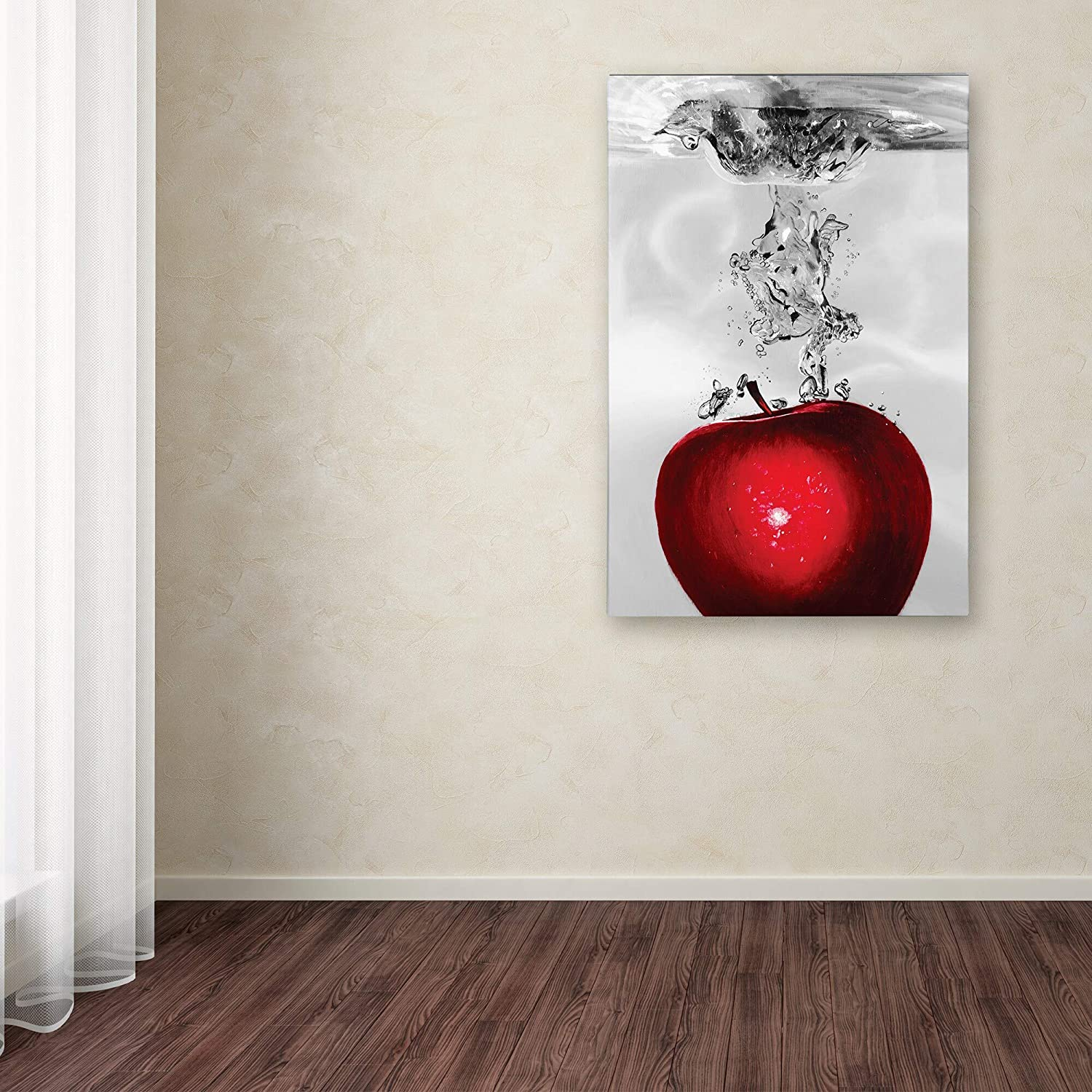 Red Apple Splash' Canvas Art Red Modern Contemporary Wood