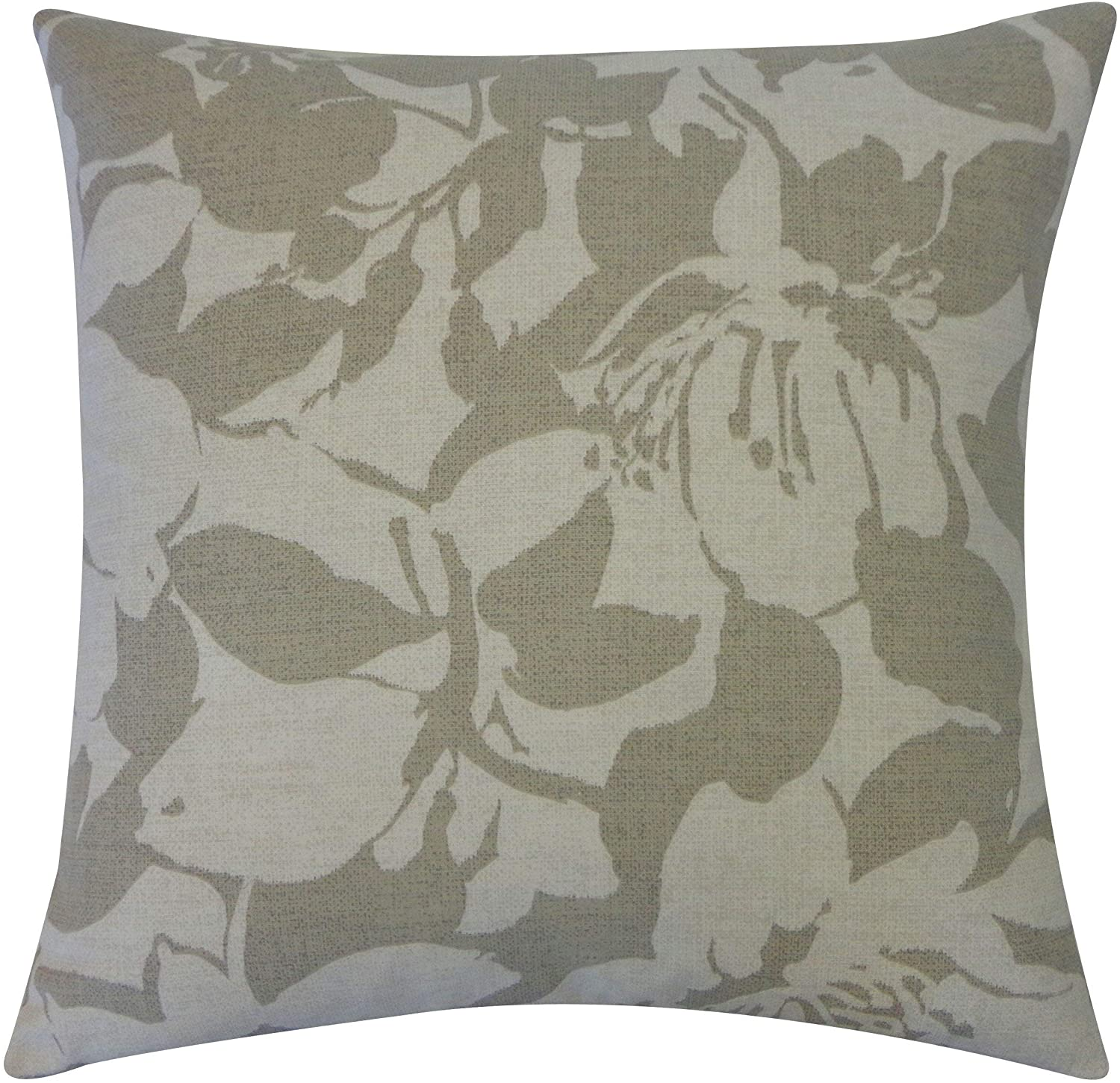 "Handmade Peony Gray Throw Pillow 20"" X Grey Cotton"