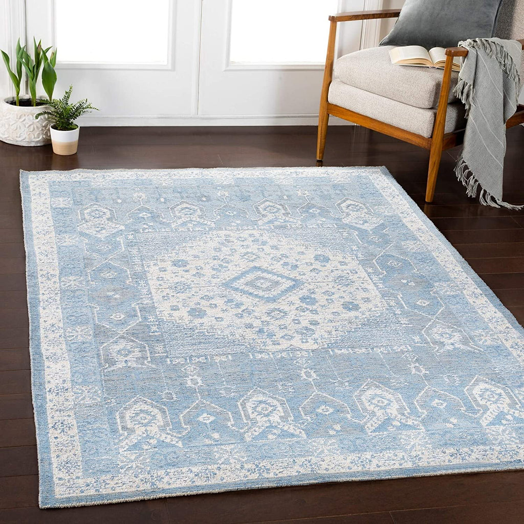 "MISC Denim Updated Traditional Area Rug 5'3"" X 7'3"" Blue Medallion Rectangle Chenille Cotton Latex Free Pet Friendly Stain Resistant"