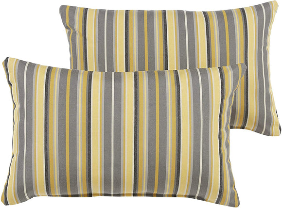 Metallic Indoor/Outdoor 12 X 24 Inch Knife Edge Pillow Set Grey Color Yellow Striped Modern Contemporary Traditional Transitional
