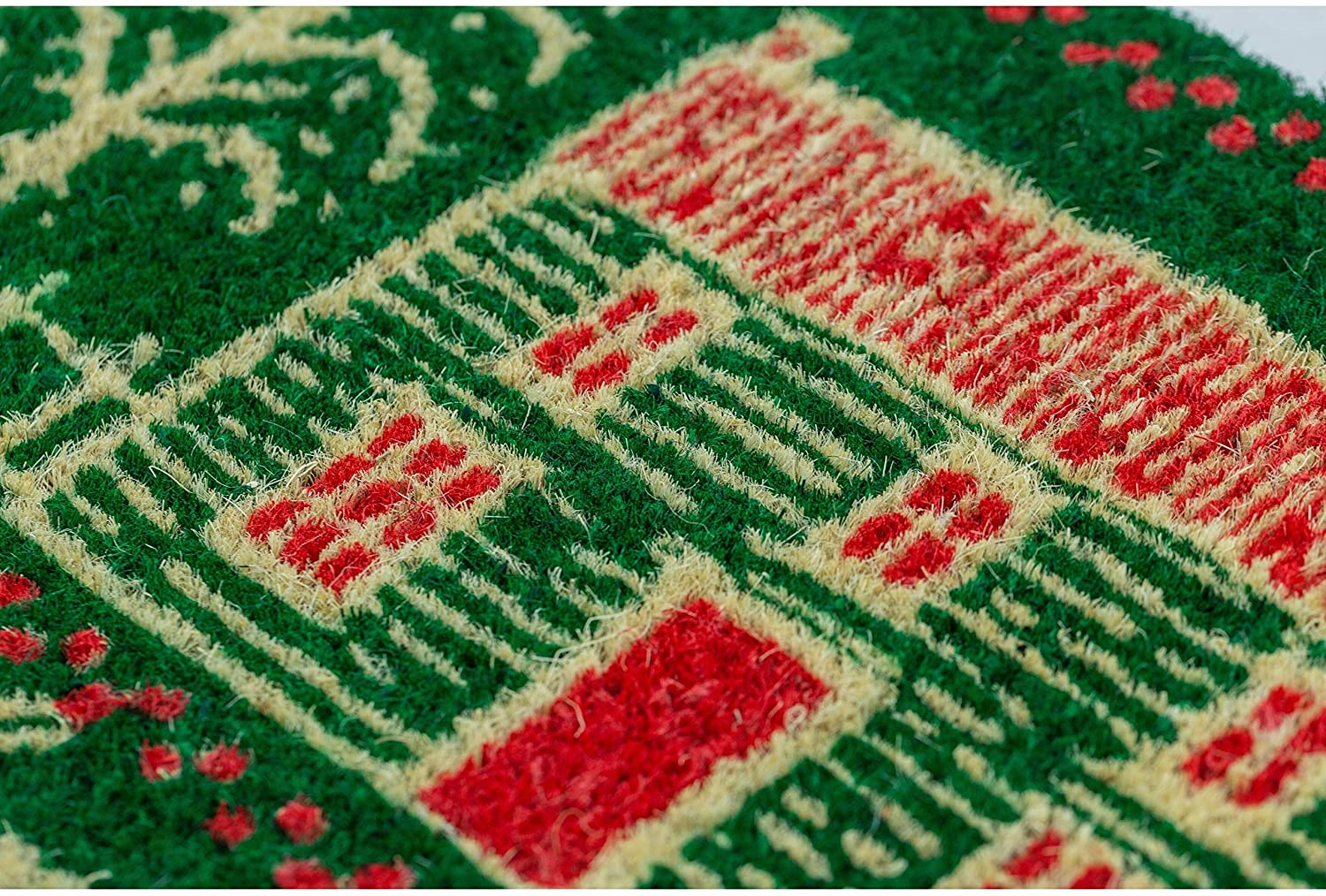 Home Holidays Handwoven Coconut Fiber Doormat 22 X 35 Green Red Casual Rectangle Organic All Weather