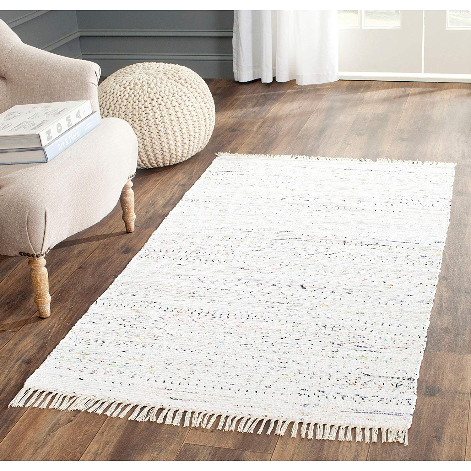 White Rag Rug 2x3 Ft Striped Carpet Handmade Rectangle Shape Bathroom Entryway Kitchen Bohemian Mattress Eclectic Indoor Accent Rug Flatweave