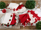 100% White Cotton Napkins Red Tassels (Set 4) Modern Contemporary Square