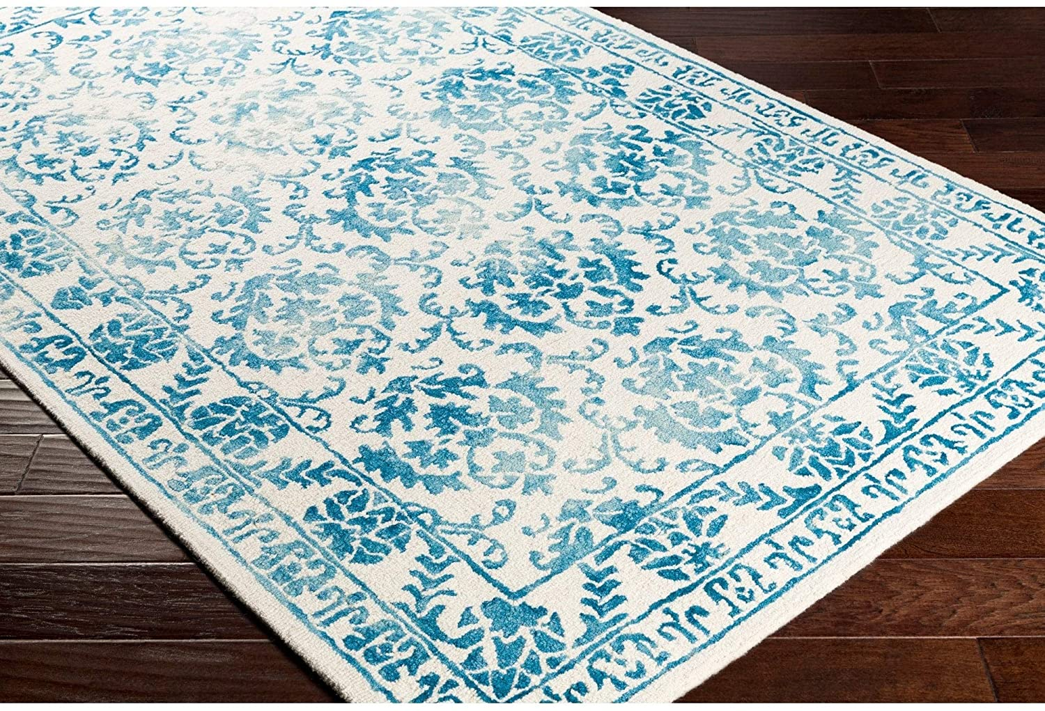 Colonial Home Blue Vintage Oriental Handmade Area Rug 6' Round Transitional Wool Latex Free