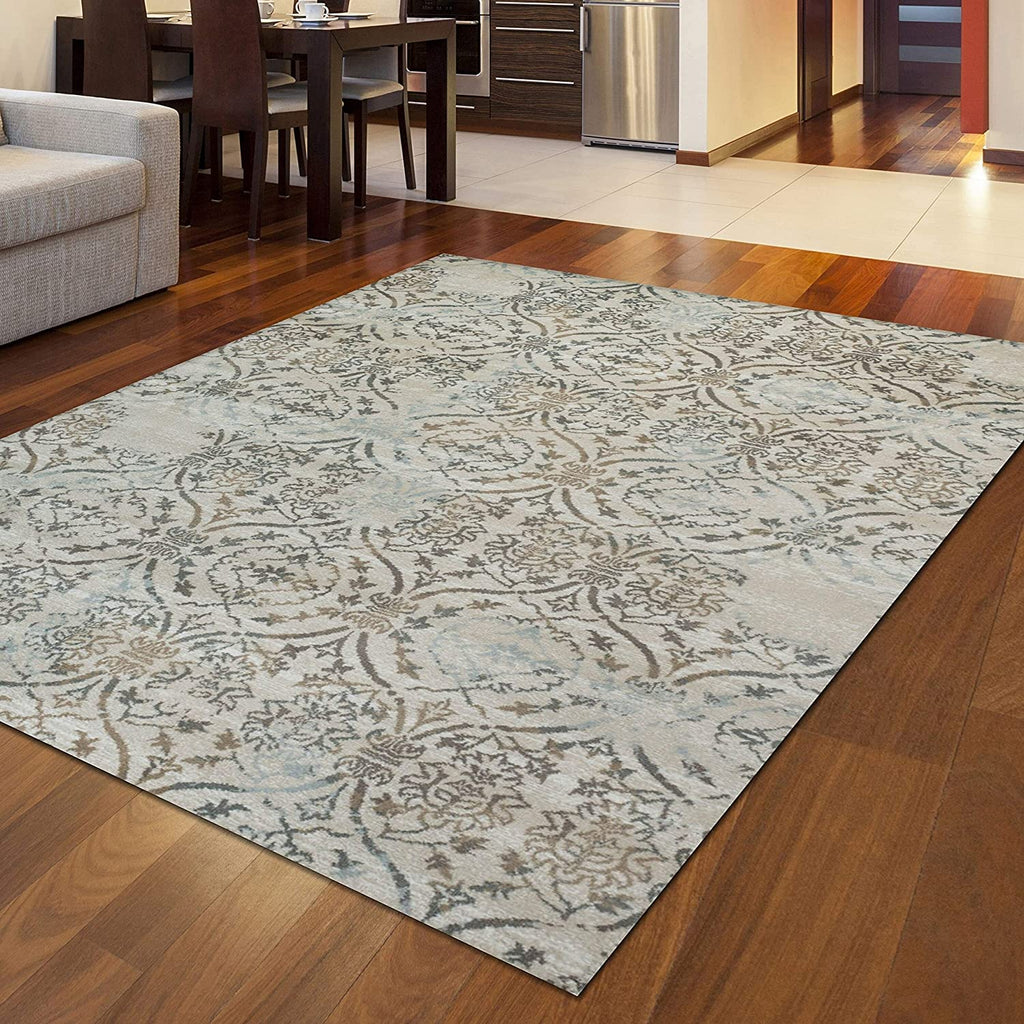 "Vines Area Rug 2'2"" X 7'7"" Runner Brown Abstract Casual Patterned Transitional Polypropylene Contains Latex"