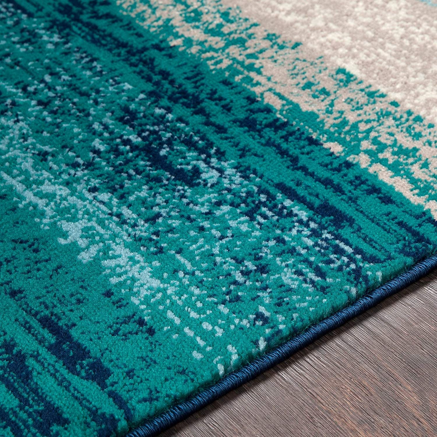 "Teal Contemporary Striped Area Rug 5'3"" X 7'6"" Blue Stripe Modern Rectangle Polypropylene Latex Free"