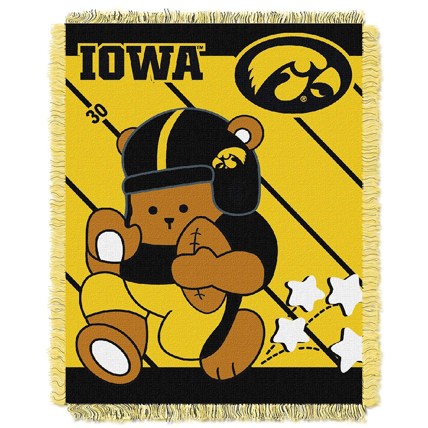 "36""x46"" NCAA Hawkeyes Baby Throw Sports Basketball Blanket Teddy Bear Animal Team Logo Printed Plush Cozy Throw Blanket Kids Soft Warm Bedding Fringed"