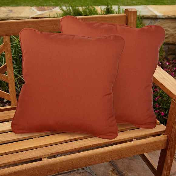 Canvas Rust Indoor/Outdoor 20 Inch Corded Pillow Set Orange Solid Modern Contemporary Traditional Transitional Polyester Fade Resistant Uv Water