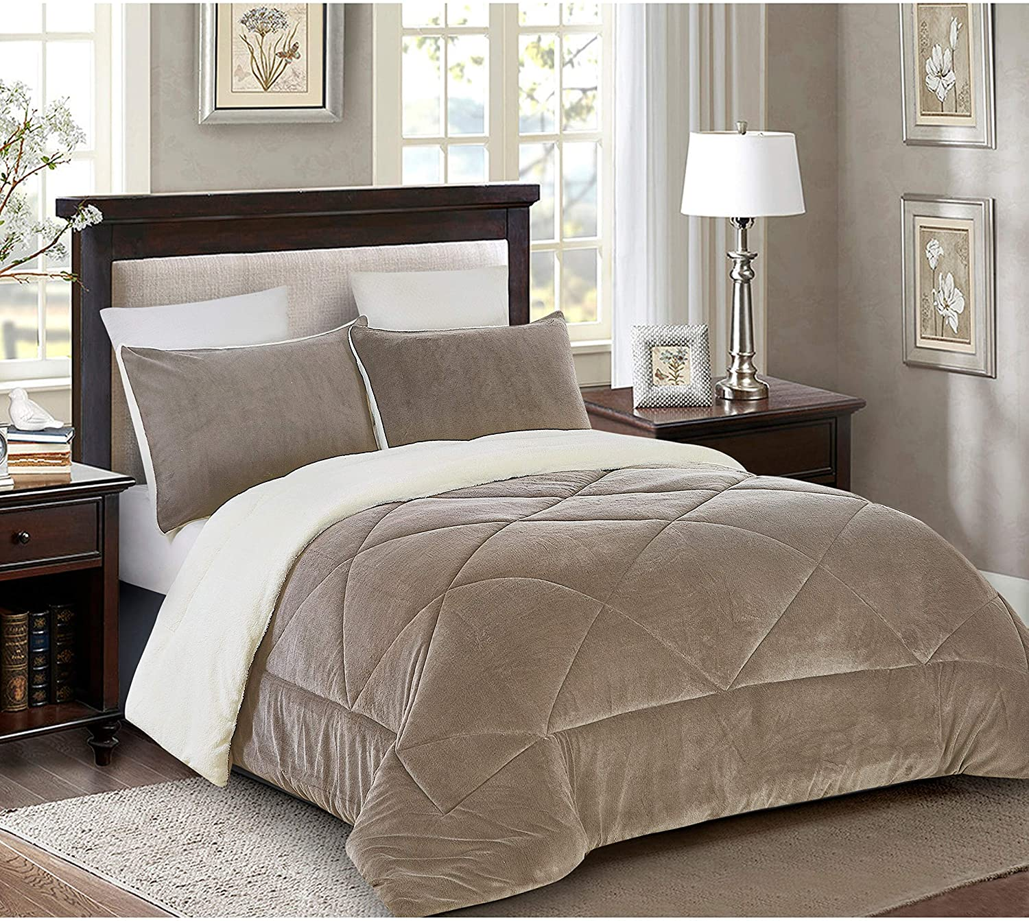 2 Piece Fleece/Sherpa Down Alternative Comforter Set Twin Taupe Brown Solid Color Microfiber