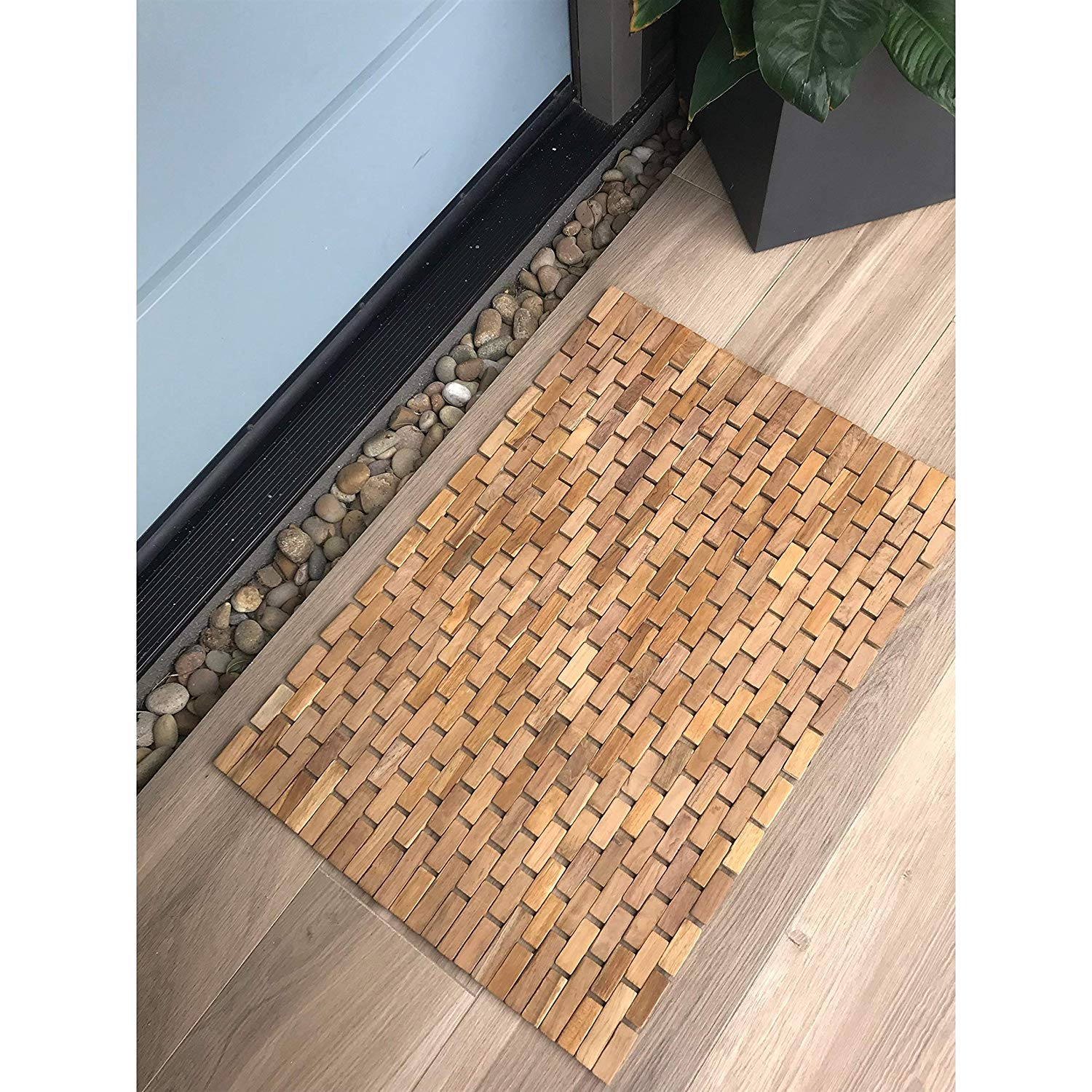 "Large Teak Wood Bath Mat L Size Teak Floor Mat Bathroom Indoor Outdoor Bath Rug Non Slip Shower Mat Brown 27 5"" X 19 5"""