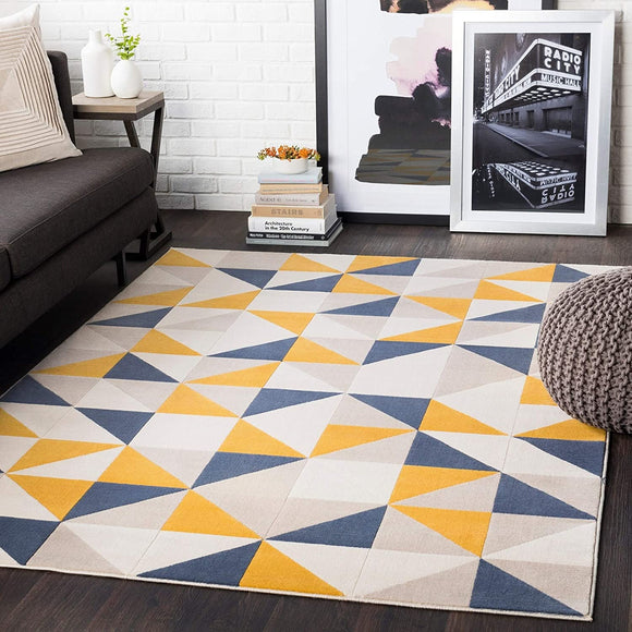Yellow Geometric Area Rug 5'3