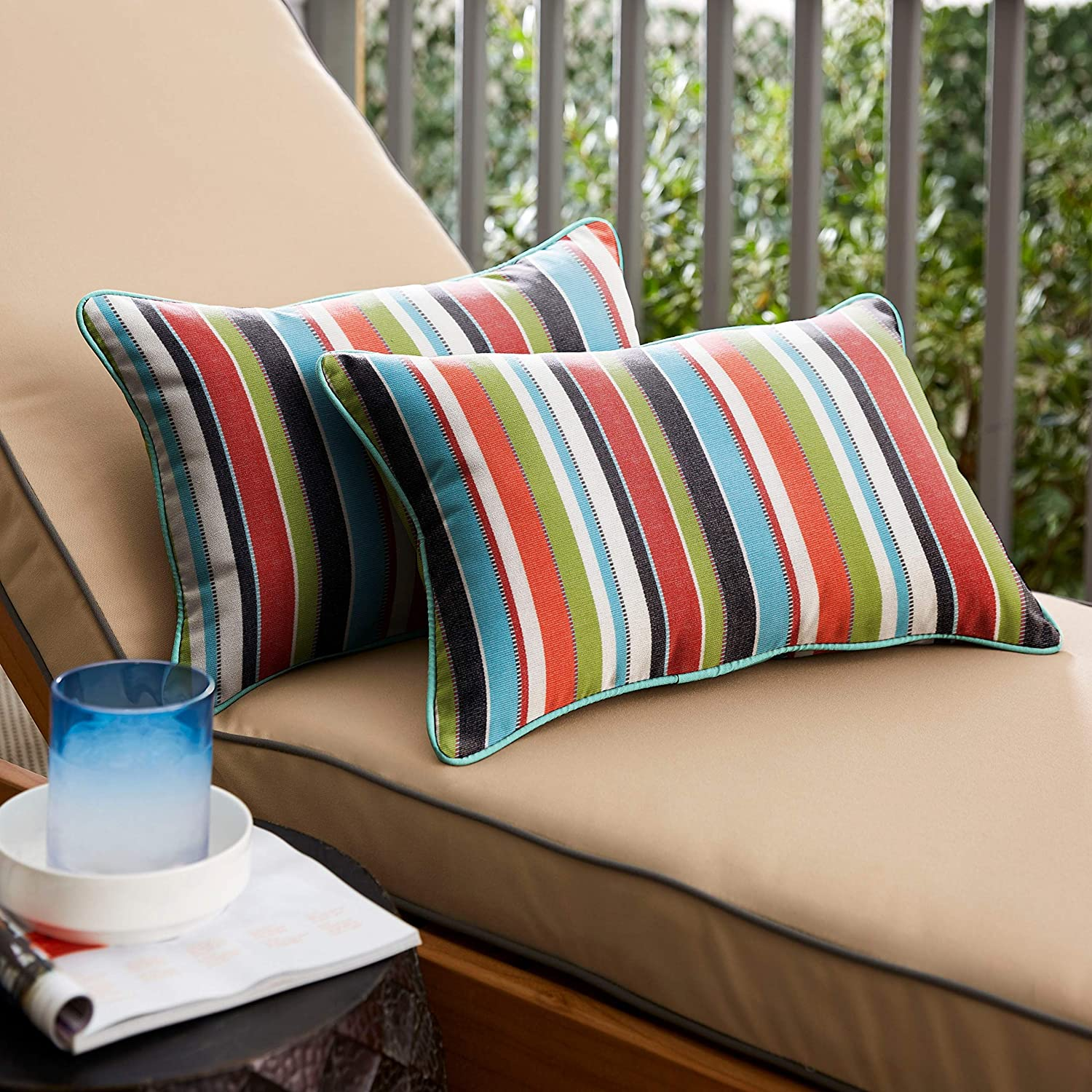 Colorful Stripe Blue Indoor/Outdoor Corded Lumbar Pillows Set 2 16 X 26 Color Solid Striped Modern Contemporary Traditional Transitional