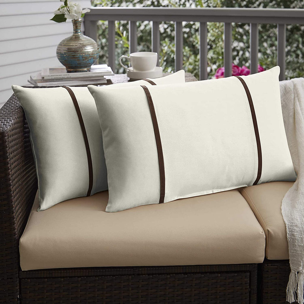 Canvas Natural Bay Brown Double Small Flange Indoor/Outdoor Pillows Set 2 White Solid Modern Contemporary Traditional Transitional