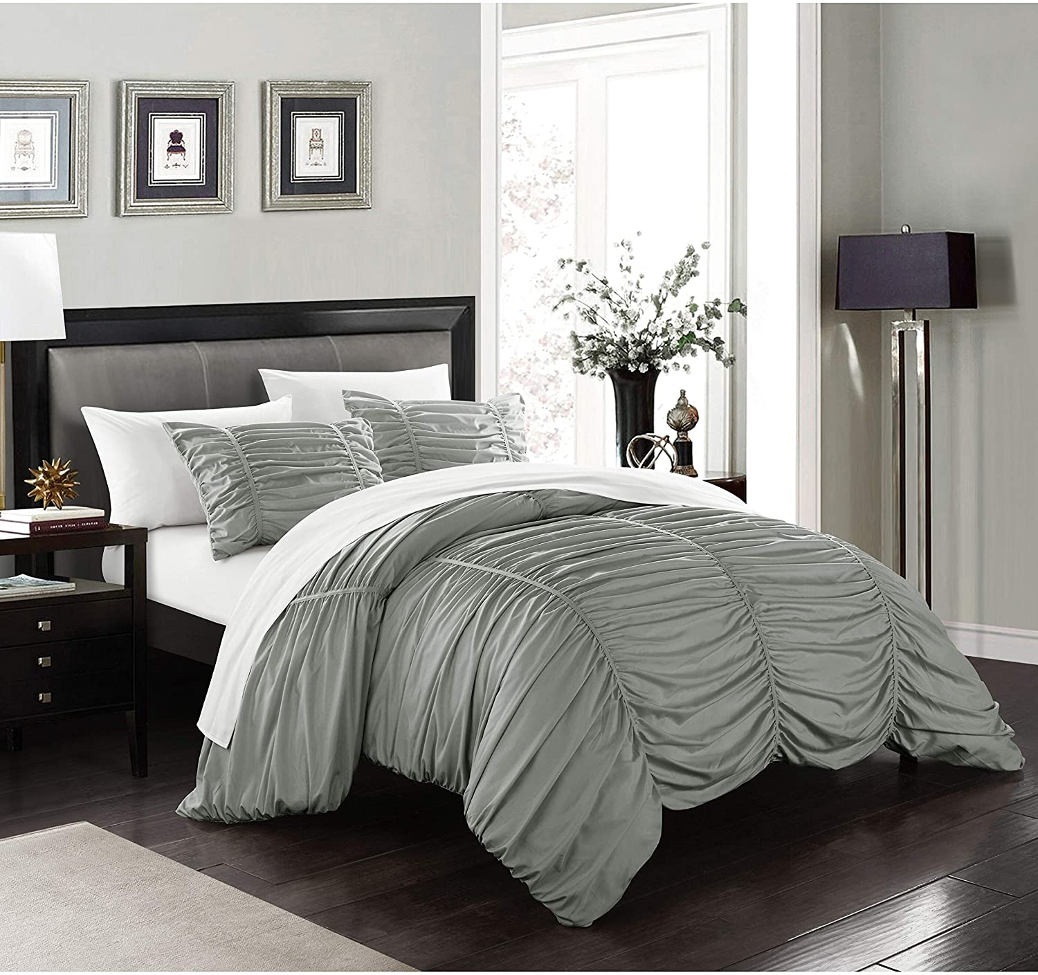 Comforter Set Contemporary Striped Design Twin Grey Ruched Modern Microfiber 2