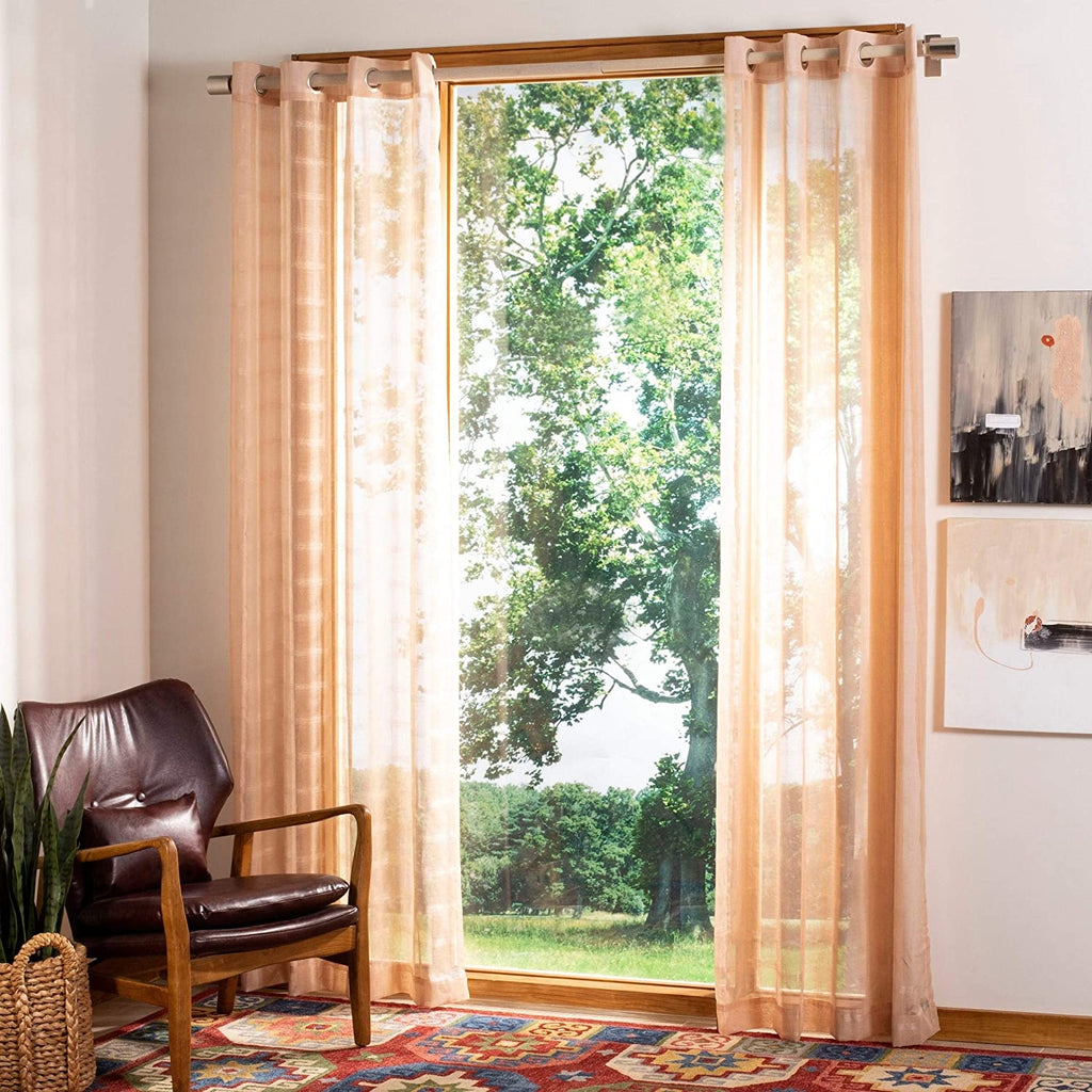 "UKN Beige 84 Inch Single Curtain Panel 52"" W X 84"" L Check Bohemian Eclectic Casual Modern Contemporary Polyester"
