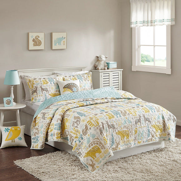 Animal Pathchwork Themed Coverlet Twin Set Wildlife Pattern Bedding Rabbit Mountain Bear Squirrel Deer Dusty Colors Aqua Brown Mustard Yellow