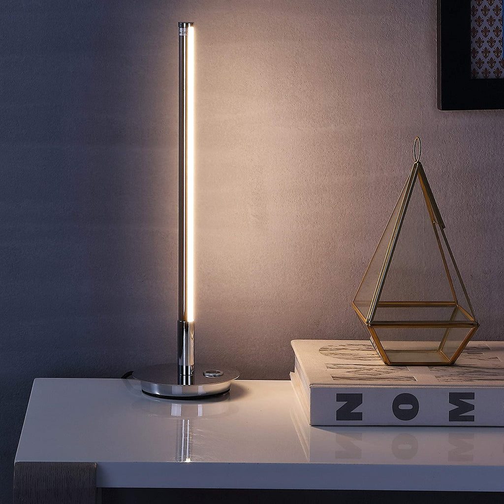 "16 5"" Led Integrated Table Lamp Chrome Grey Glam Mid Century Modern Contemporary"