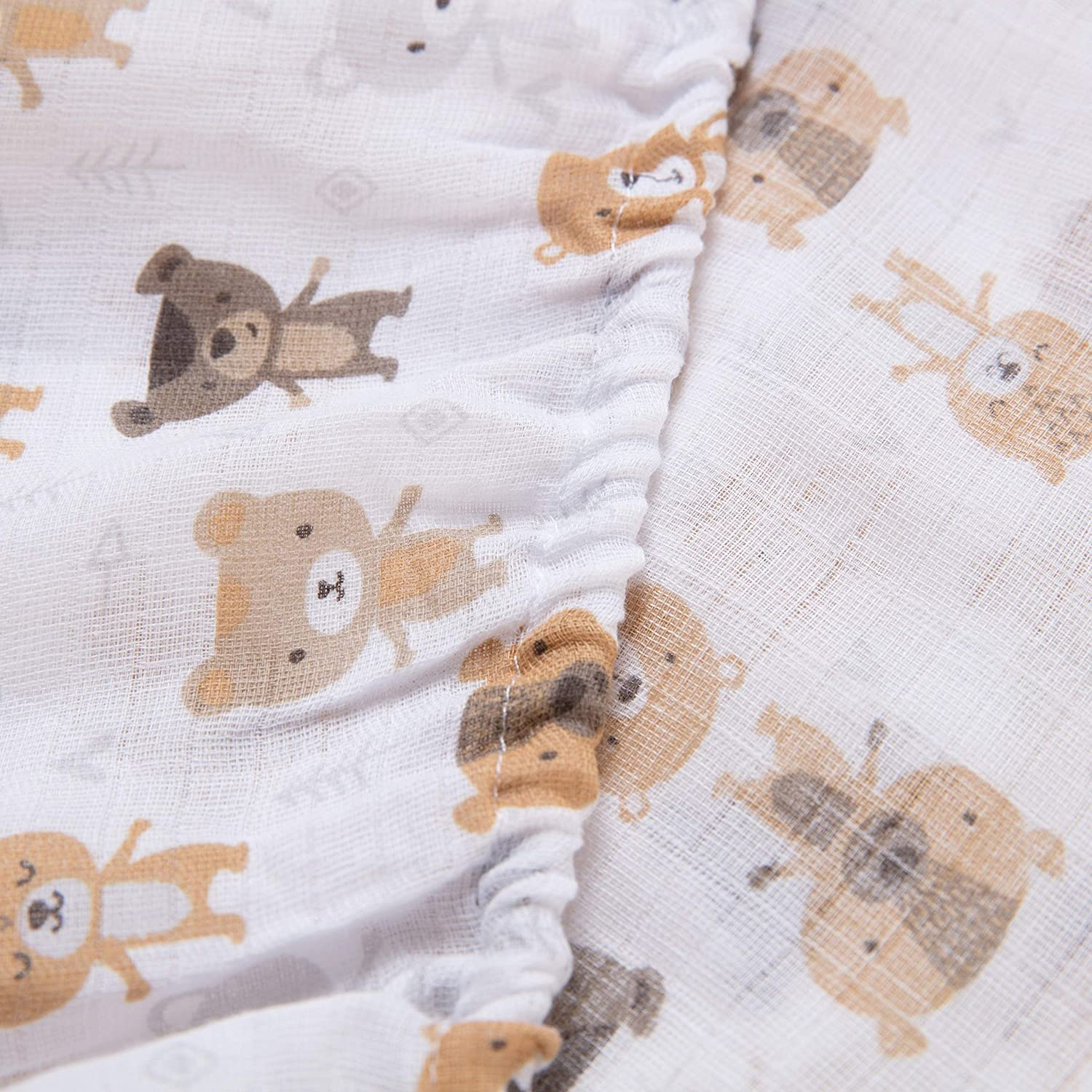 100% Cotton Crib Fitted Sheet Bears Color Animal Neutral Animals 1 Piece