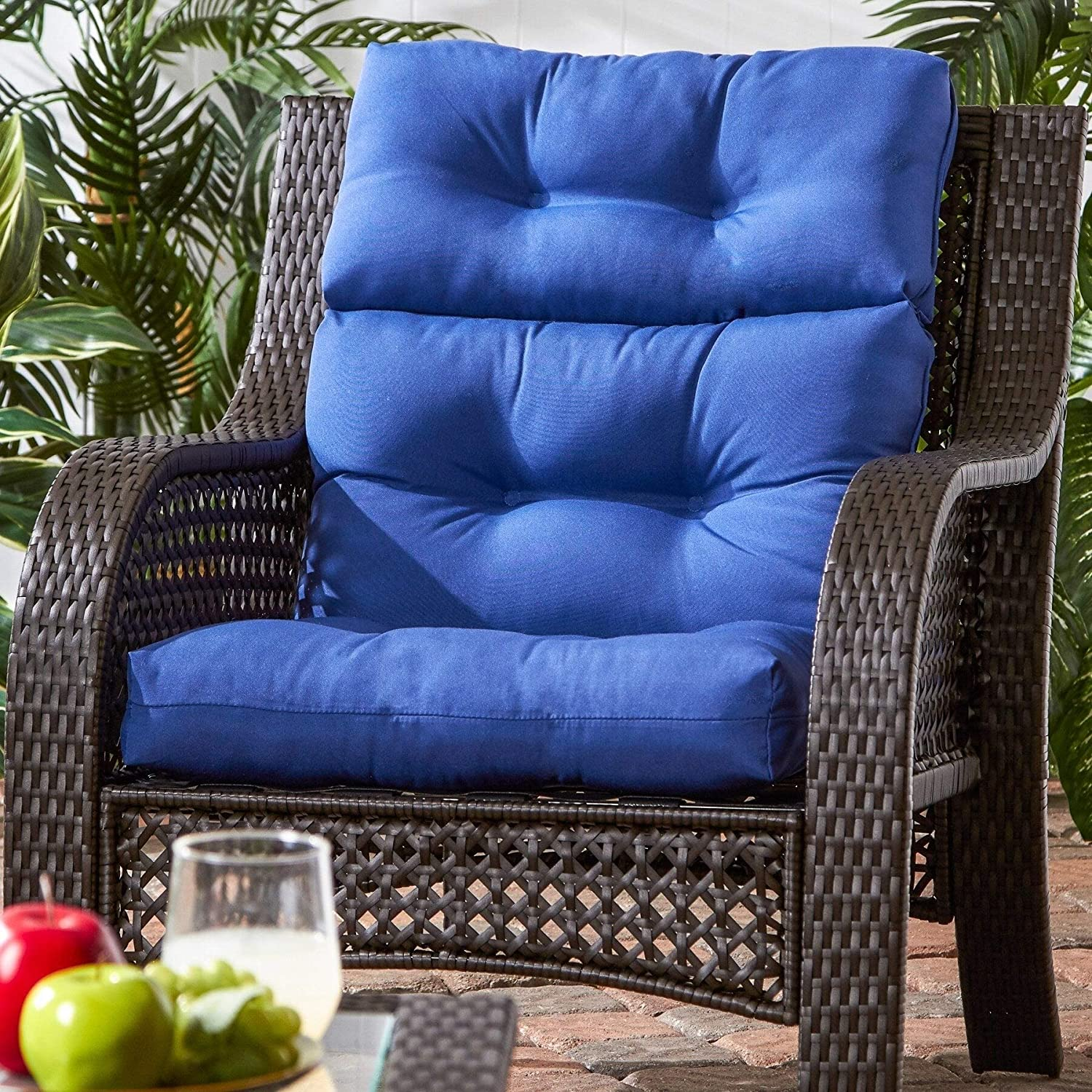 Driftwood 3 Section Outdoor Marine Blue High Back Chair Cushion Solid Modern Contemporary Transitional Fabric Polyester Fade Resistant Uv Water