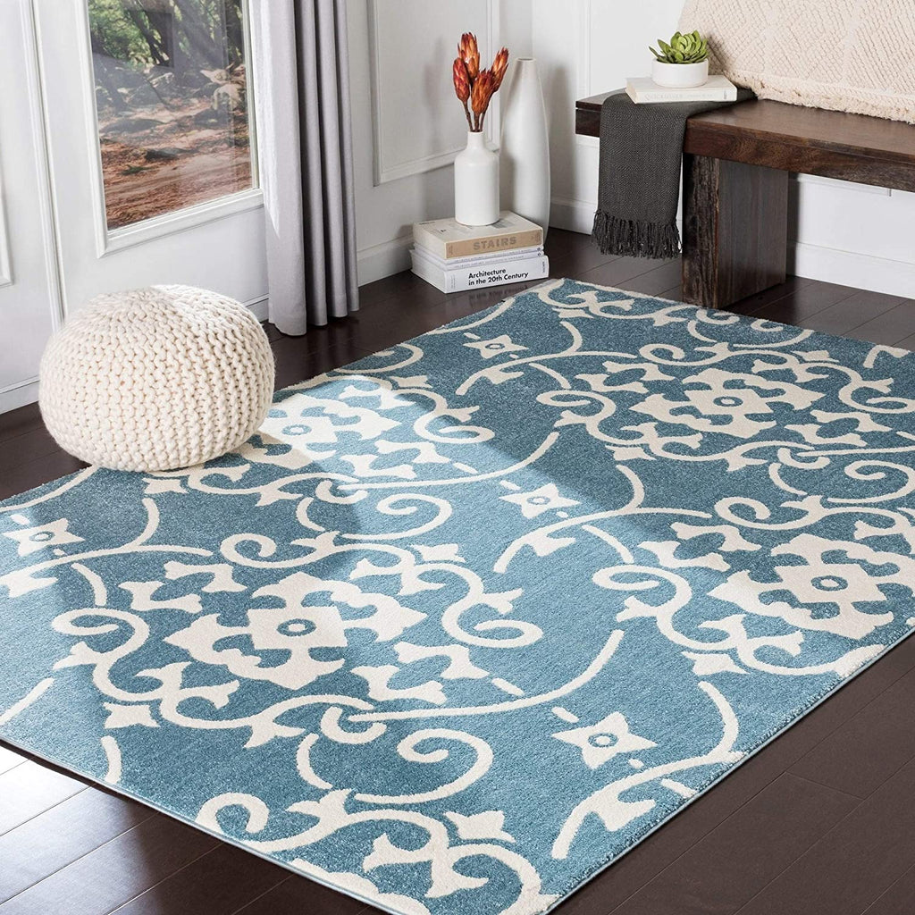 "MISC Blue Transitional Scroll Area Rug 5'3"" X 7'3"" White Trellis Polypropylene Synthetic Latex Free Pet Friendly Stain Resistant"
