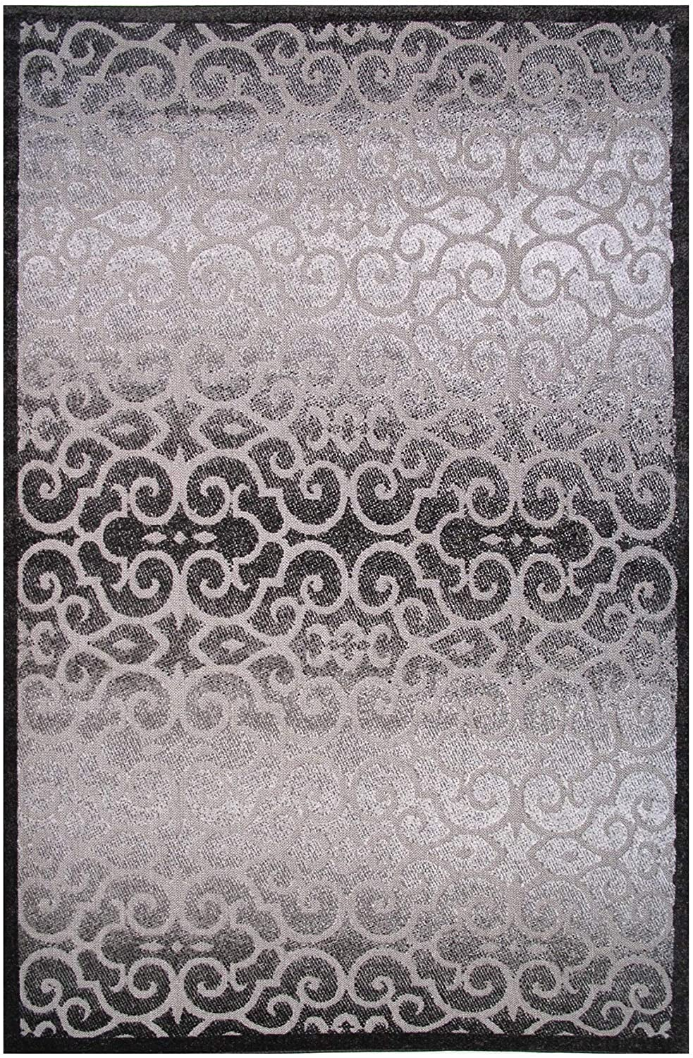 Cancun Collection Black Gray Scroll Area Rug 5' X 8' Grey Abstract Geometric Modern Contemporary Polypropylene Synthetic Latex Free