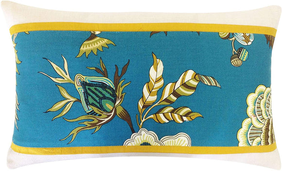 Handmade Pieces Decorative Pillow Blue Green Yellow Floral Bohemian Eclectic Cotton One