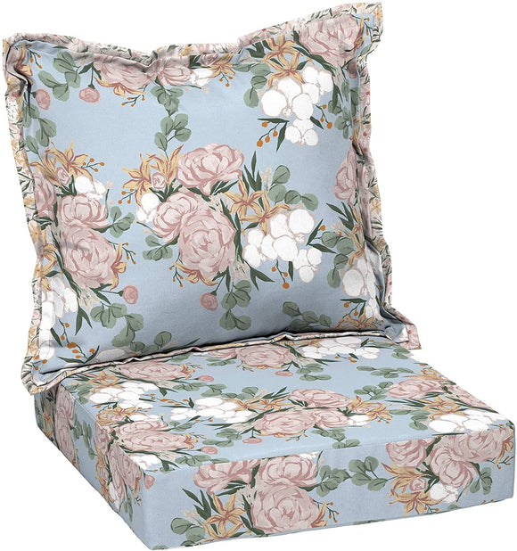 Floral Deep Seat Set Blue Transitional Polyester