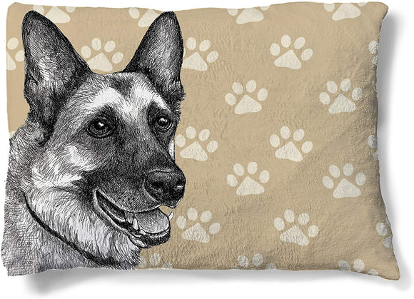 German Fleece Dog Bed Black Brown Cream