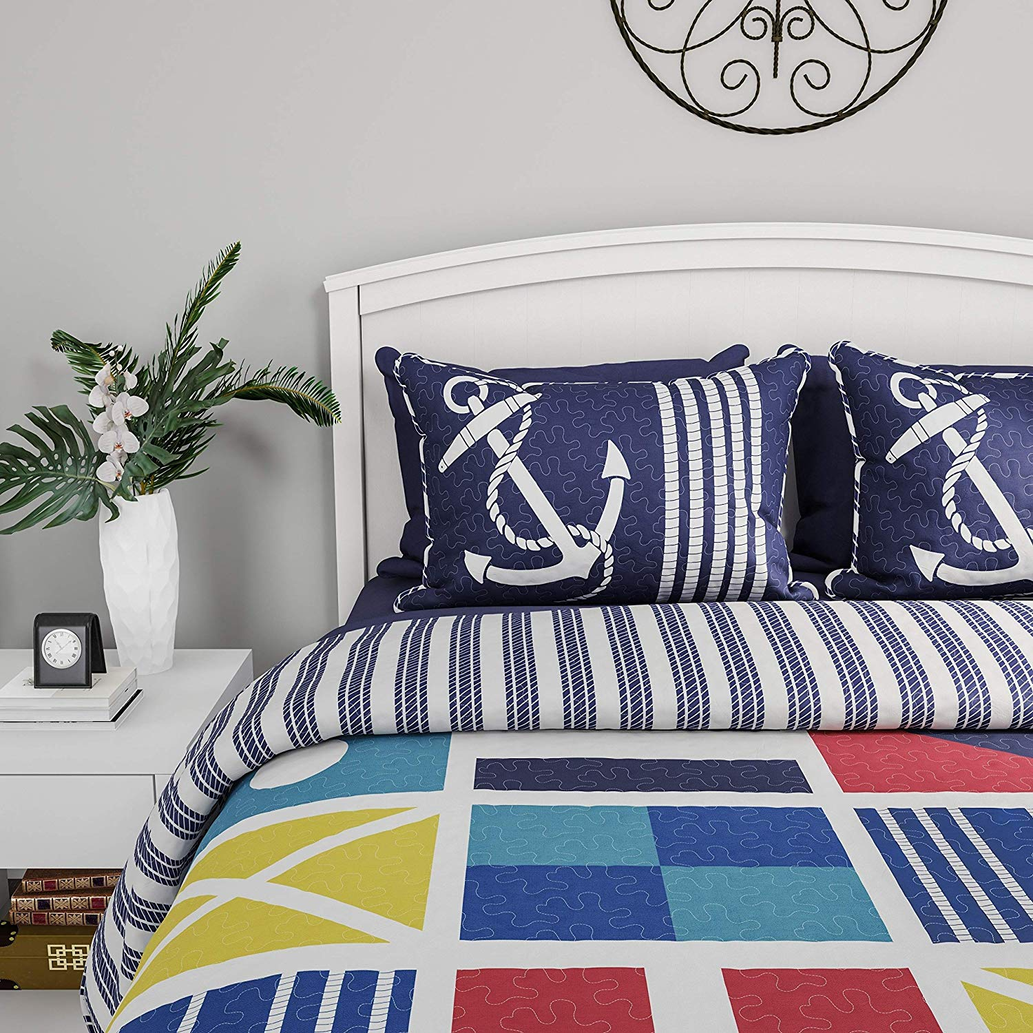 Blue Red Beach Theme Full Queen Quilt Set Yellow White Tropical Pattern Bedding Black Coastal Nautical Bedspread Sea Boating Sailing Themed Anchor