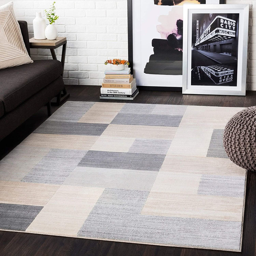 "Grey Contemporary Area Rug 5'3"" X 7'3"" Brown Geometric Modern Polypropylene Synthetic Latex Free Pet Friendly Stain Resistant"