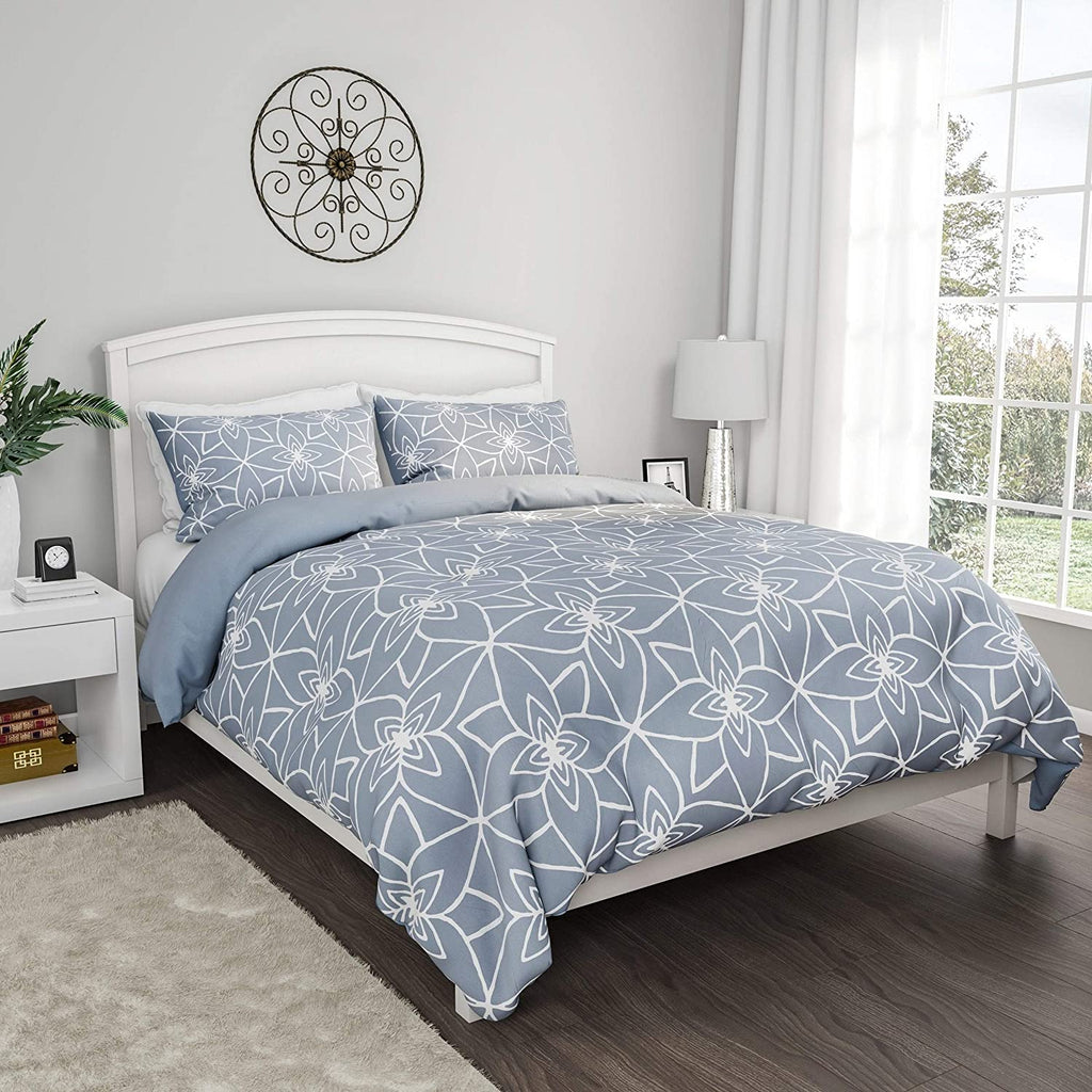 Comforter Set Exclusive Stargaze Design 3 Piece King Bed 2 Pillow Hypoallergenic Lhc (Blue) Blue White Geometric Modern Contemporary Microfiber