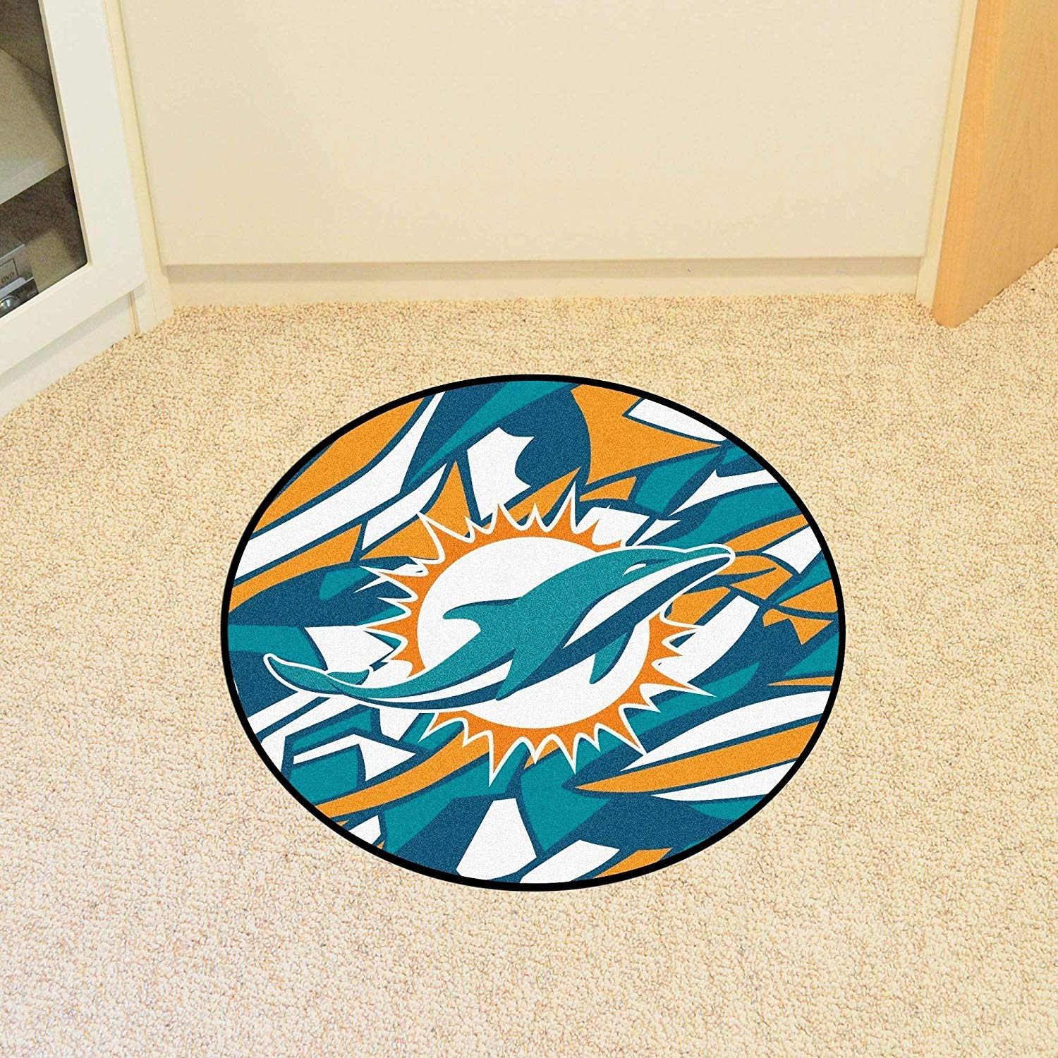 27 Inch NFL Miami Dolphins Mat Team Logo Sports Football Round Rug Geometric Design Floor Carpet Home Office Bedroom Bath Area Rug Game Fans Gift Non