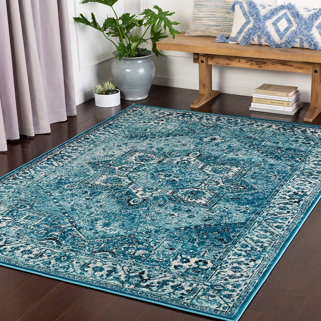 "MISC Aqua Traditional Area Rug 3'11"" X 5'7"" Black Blue White Polypropylene Synthetic Latex Free Pet Friendly Stain Resistant"
