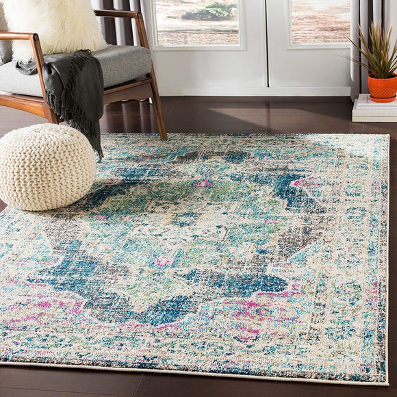 Teal Navy Vintage Distressed Medallion Area Rug 2' X 3' Blue Rectangle Polypropylene Latex Free