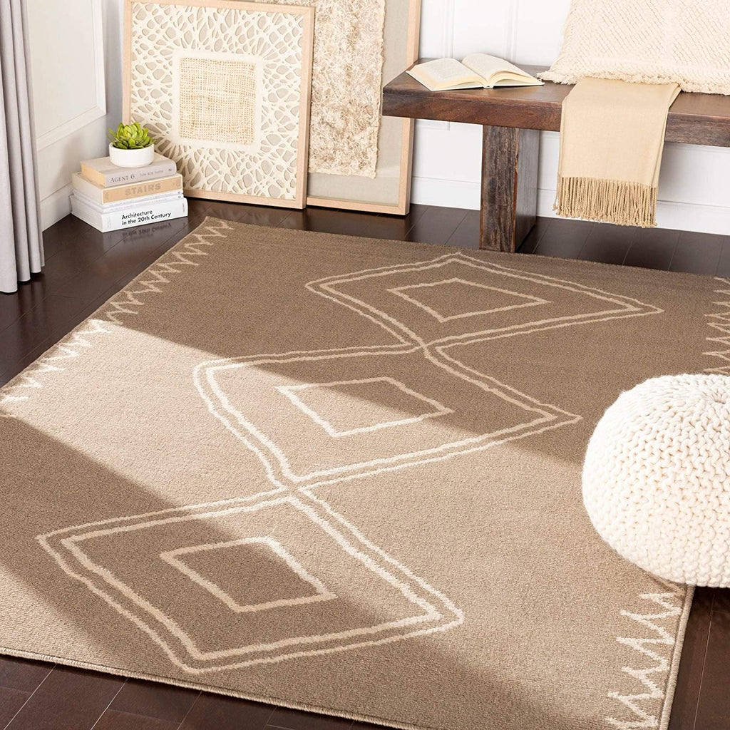 "MISC Camel Bohemian Area Rug 7'10"" X 10'3"" Brown Abstract Geometric Eclectic Moroccan Polypropylene Synthetic Latex Free Pet Friendly Stain Resistant"