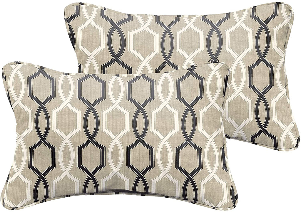 Black Tan Indoor/Outdoor 13 X 20 Corded Pillow Set Grey Geometric Modern Contemporary Traditional Transitional Polyester Fade Resistant Uv Water