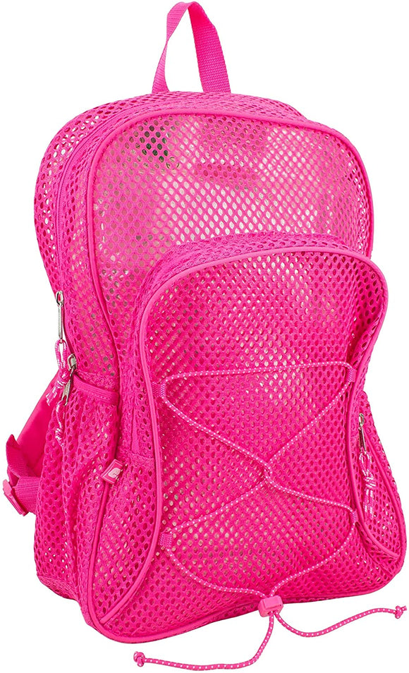 Mesh Bungee Backpack Pink Solid Expandable Compartment
