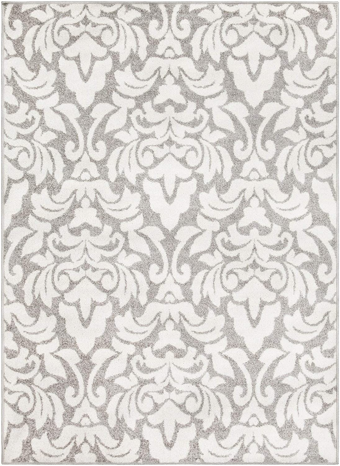 "MISC Grey Transitional Damask Area Rug 7'10"" X 10'3"" White Floral Botanical Rectangle Polypropylene Synthetic Latex Free Pet Friendly Stain Resistant"