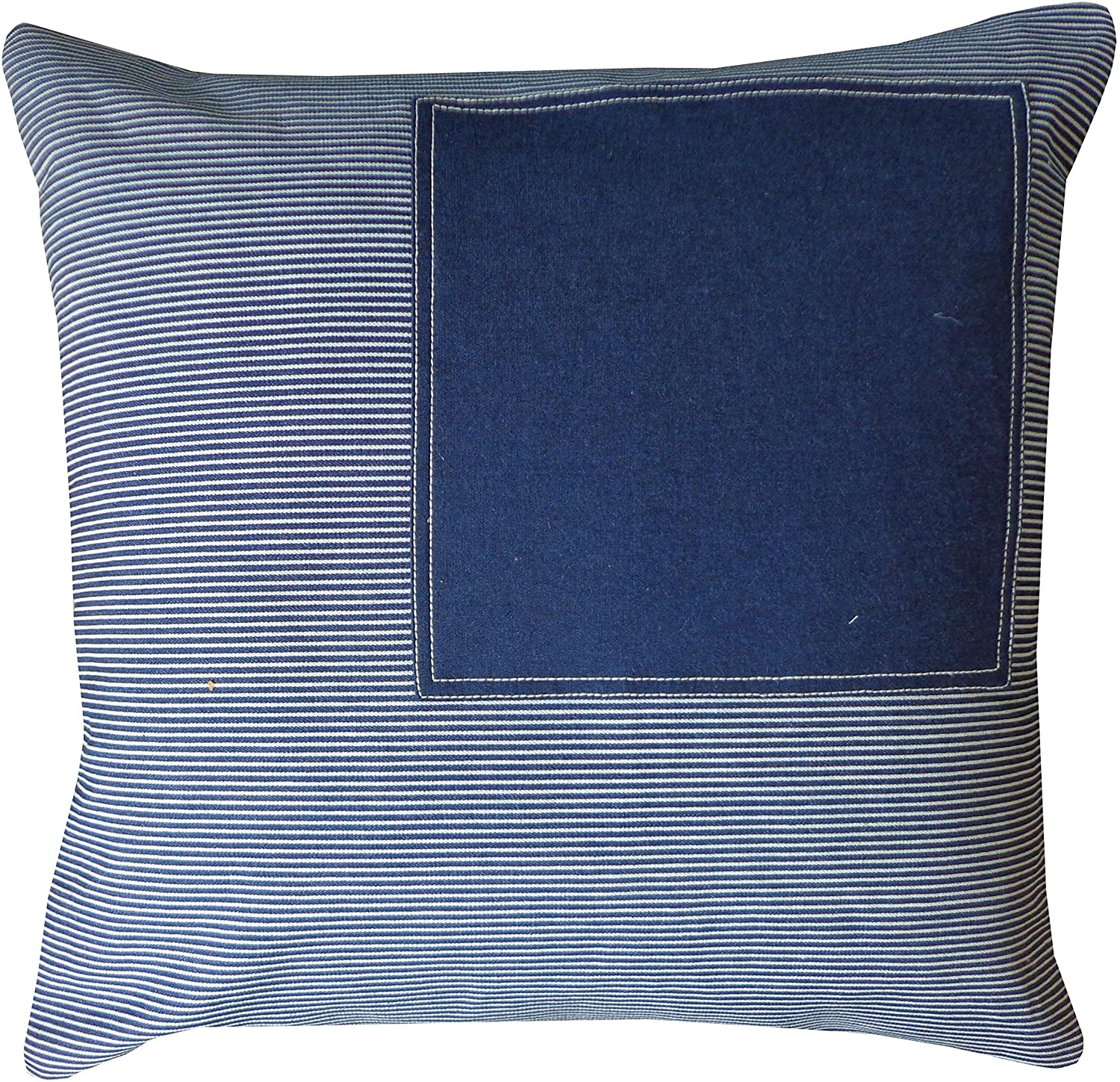 Handmade Window Stripe Navy Decorative Pillow Blue Geometric Bohemian Eclectic Cotton One