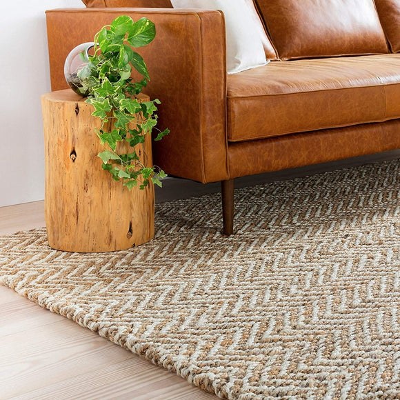 Hand Woven Wheat Jute Tan Natural Fiber Chevron Area Rug 3'3