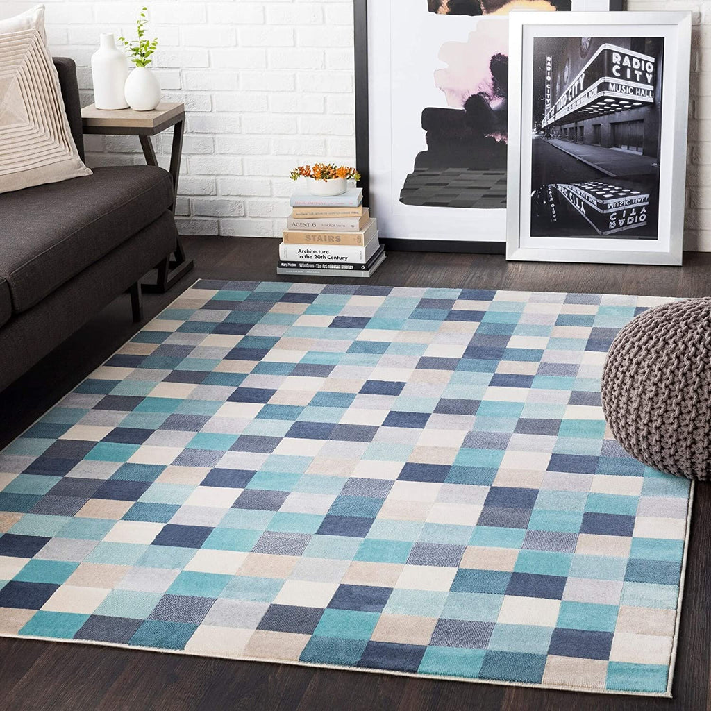 "Aqua Contemporary Pixelated Area Rug 5'3"" X 7'3"" Black Blue Brown Geometric Modern Rectangle Polypropylene Latex Free"