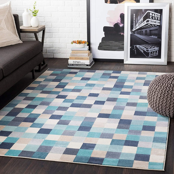 Aqua Contemporary Pixelated Area Rug 5'3