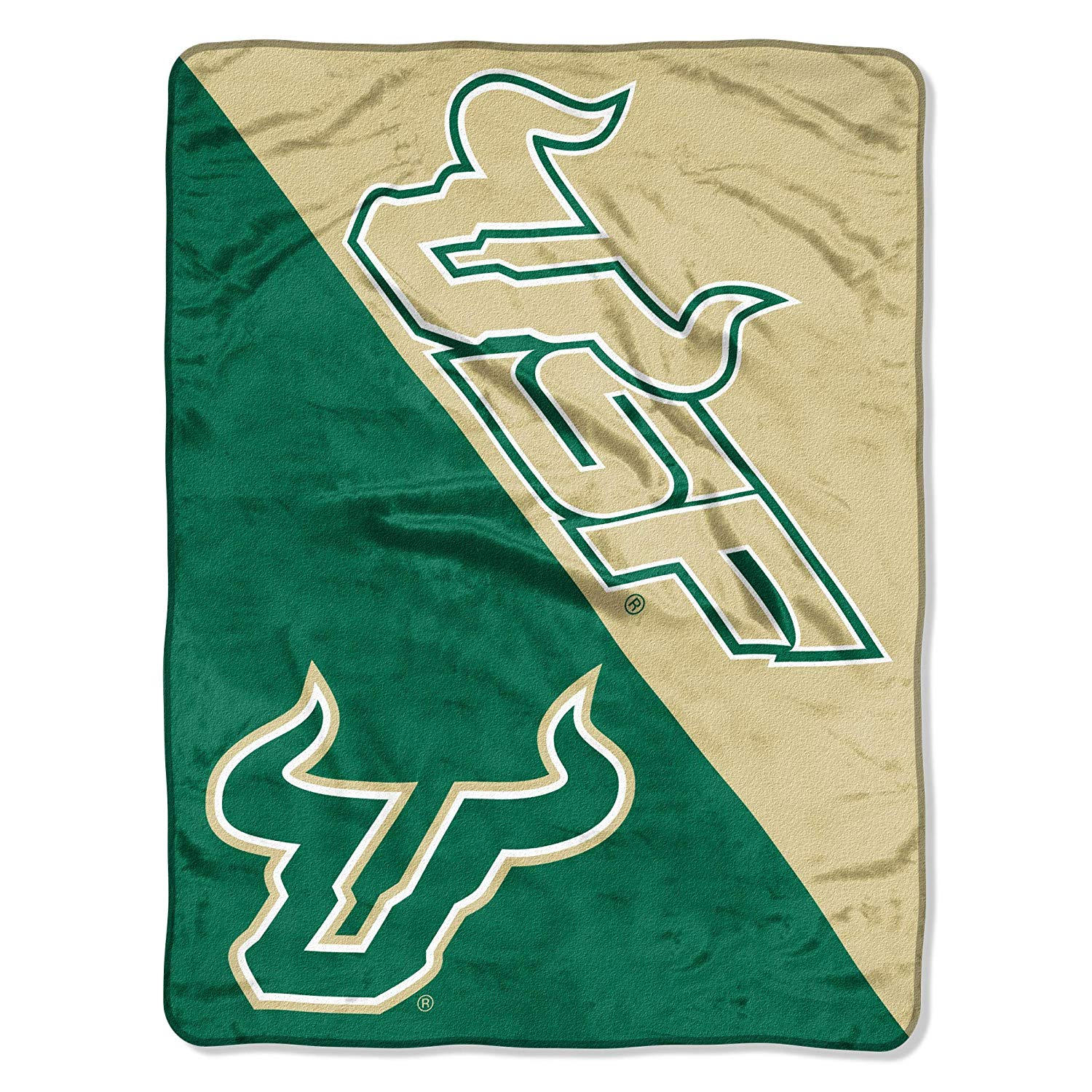 "46""x60"" Green Gold NCAA USF Bulls Micro Raschel Throw Sports Patterned Team Logo Printed Plush Blanket Football Basketball Bedding Athletic Games"