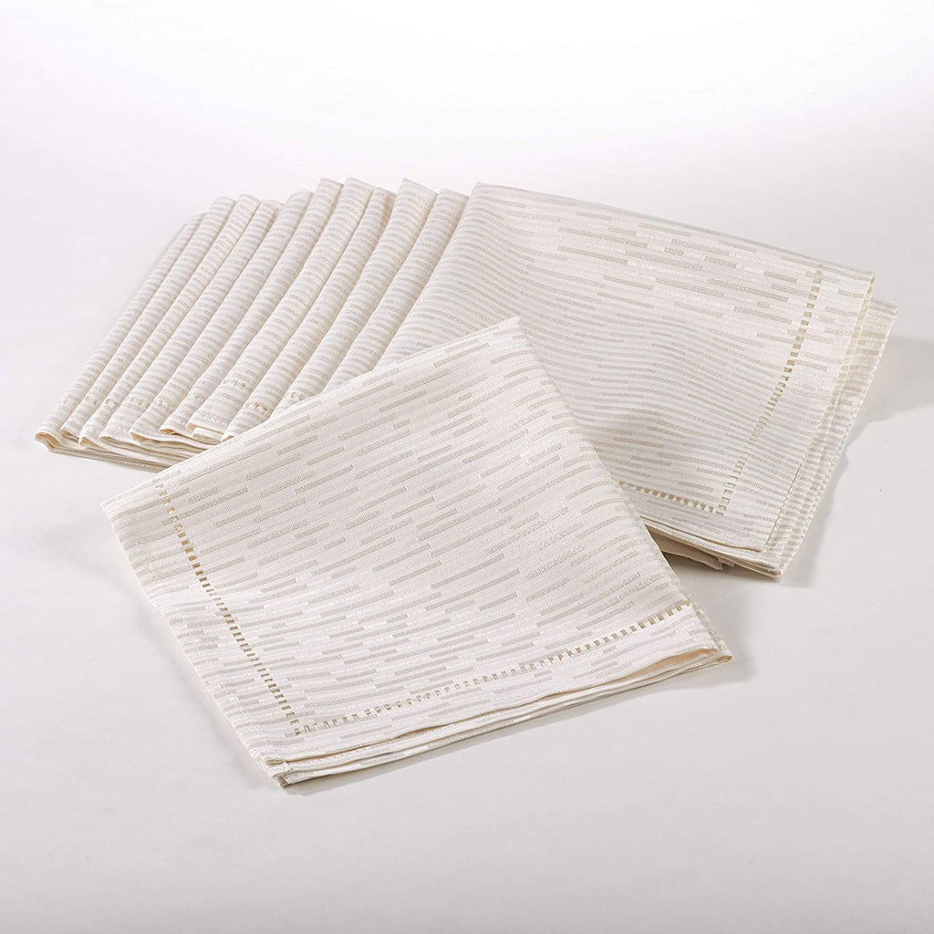 Hemstitched Design Napkin (Set 12) Cream Border Solid Casual Classic Modern Contemporary Polyester