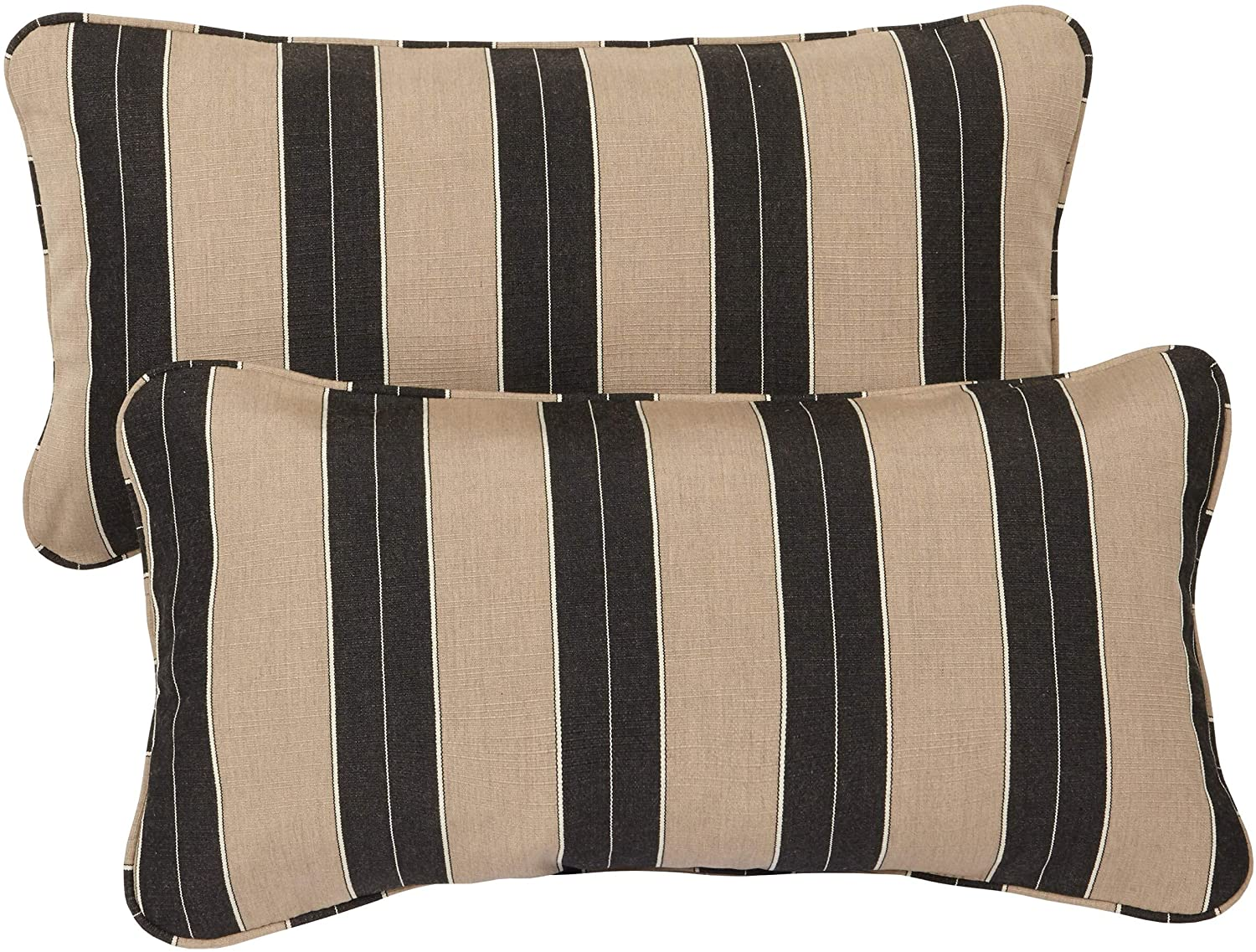 Cocoa Stripe Corded Indoor/Outdoor Lumbar Pillows Fabric (Set 2) Black Brown White Striped Traditional Transitional Fade Resistant Uv Water